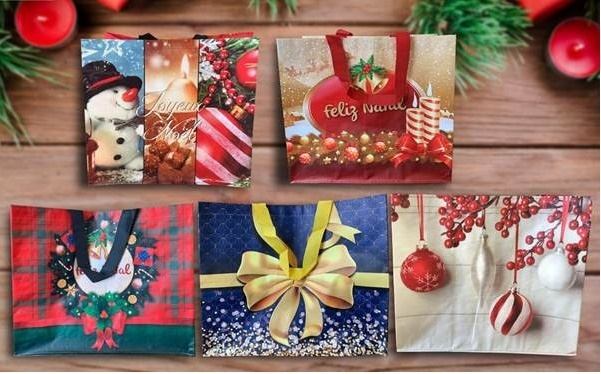 Printed Christmas Shopping Bags