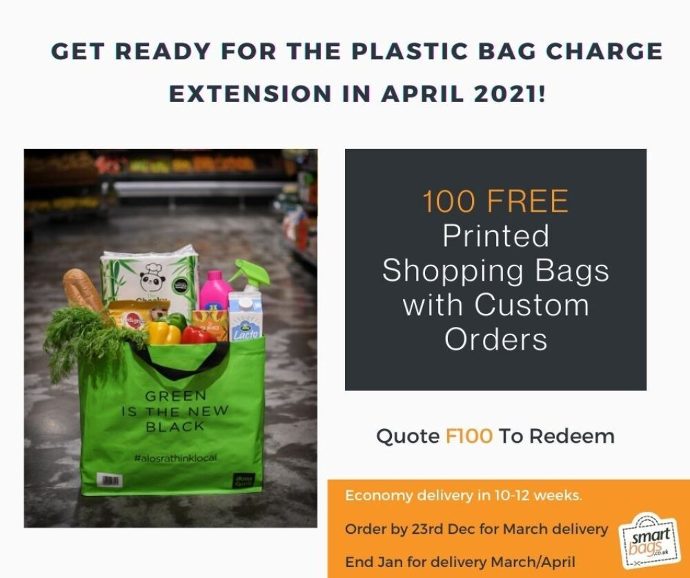 Get Ready for 10p Plastic Bag Charge with 100 Free Printed Bags