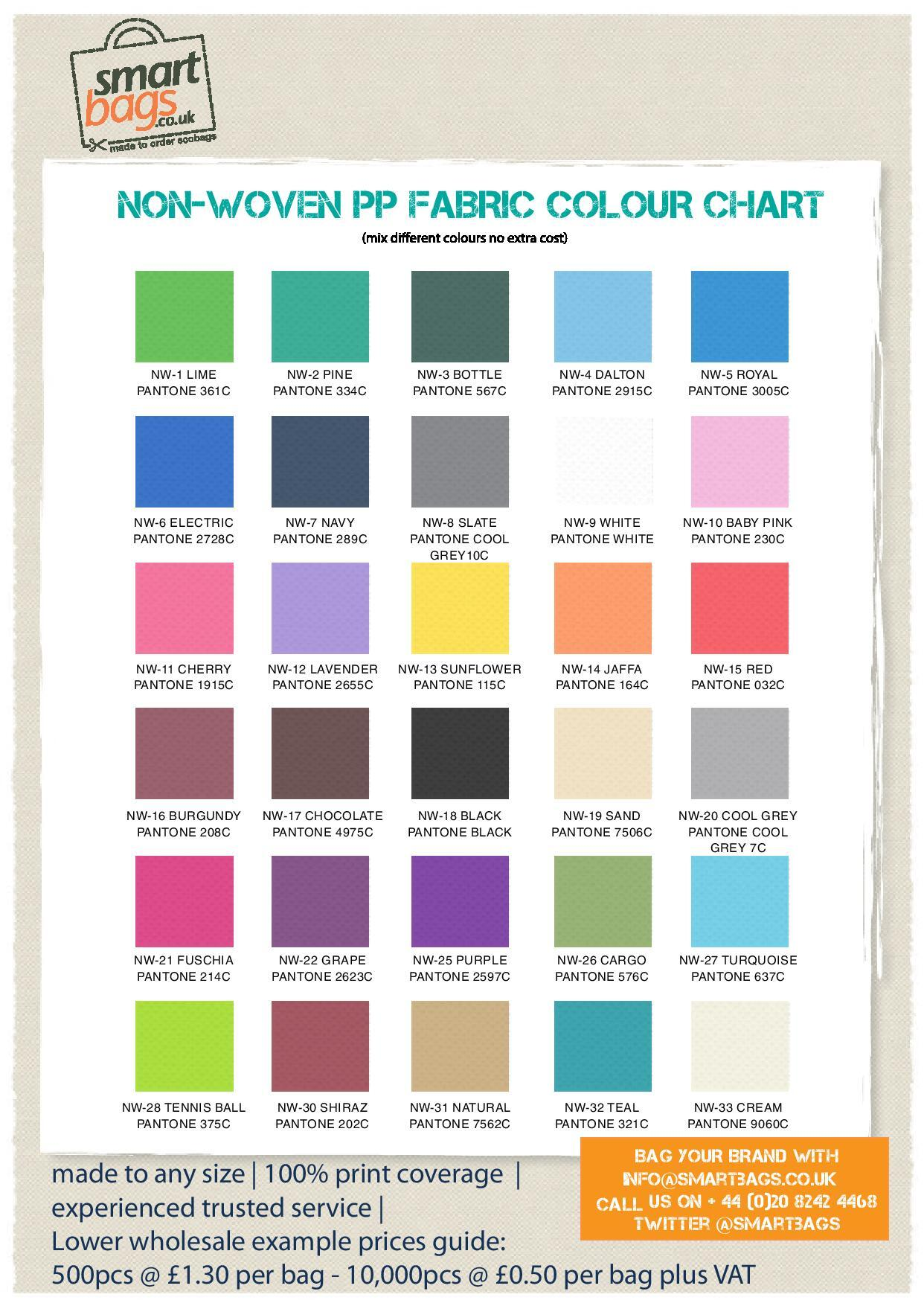 Non-woven PP Bag Colour Chart
