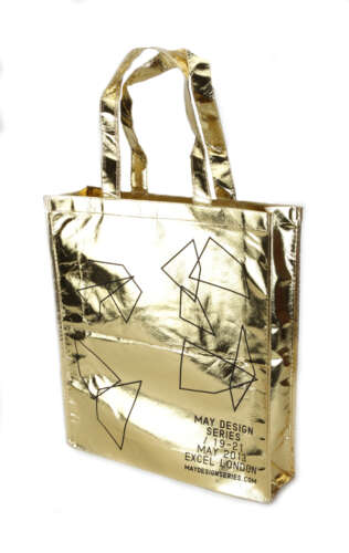 Metallic Large Tote with velcro fastener