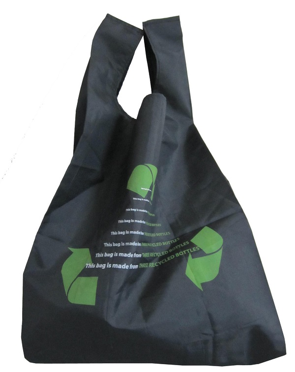 rPET Foldable Vest style Shopping Bag with Inner Pouch